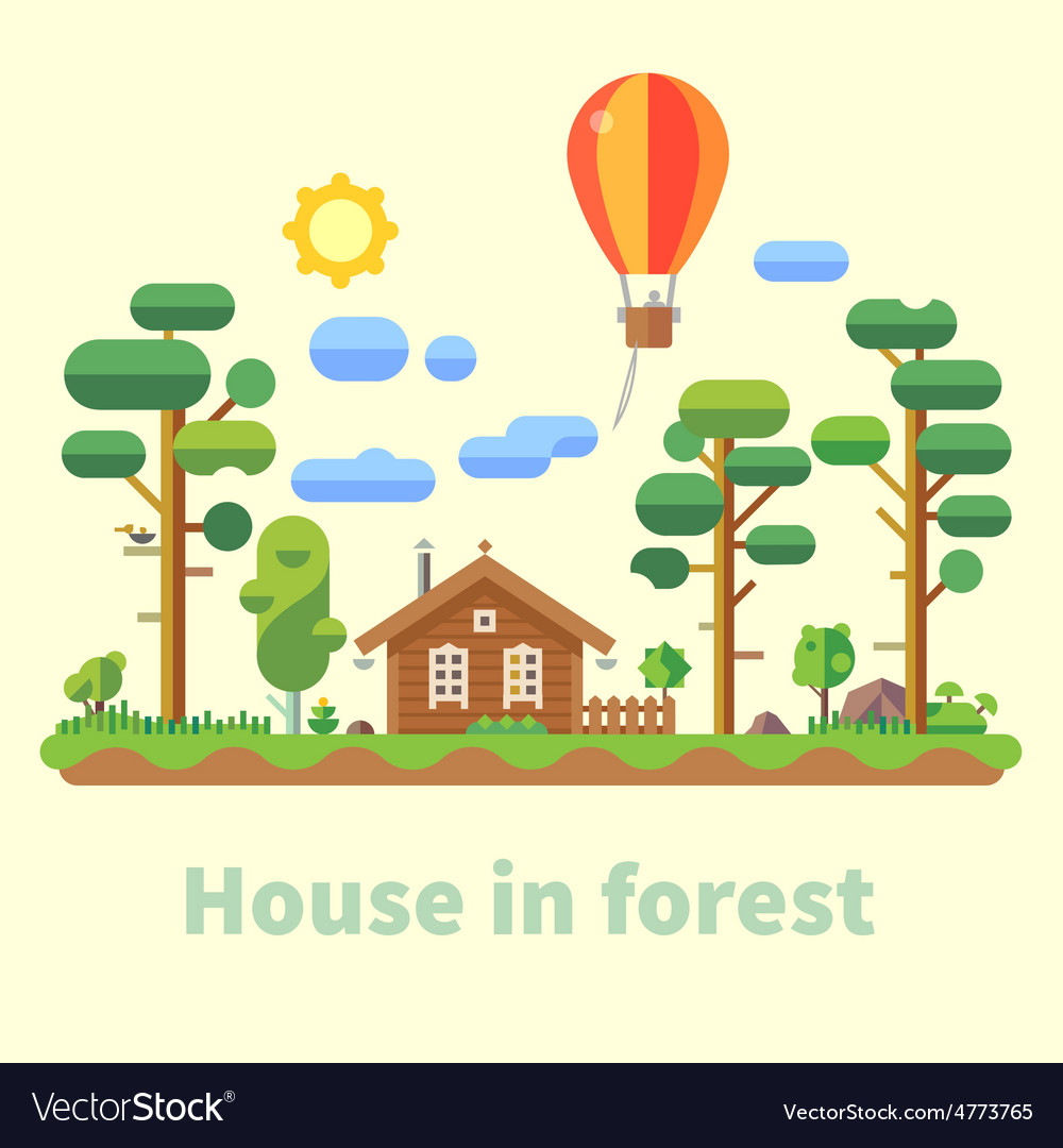 House in forest vector   Price: 3 Credit (USD $3)