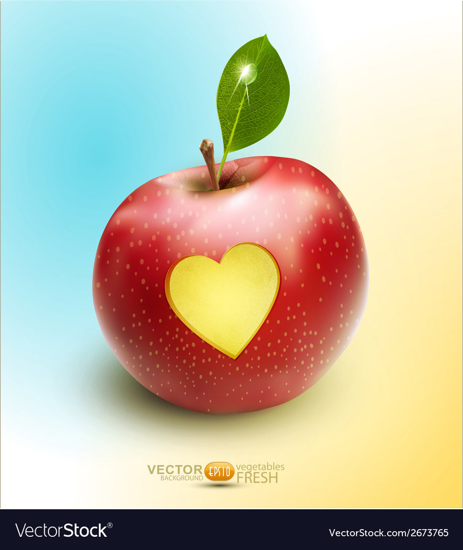 Red apple with carved heart vector | Price: 1 Credit (USD $1)