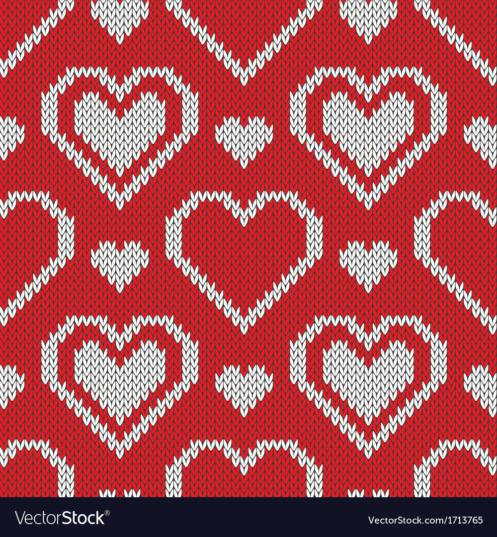 Seamless knitted sweater pattern with hearts vector | Price: 1 Credit (USD $1)