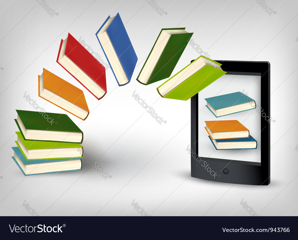 Books flying in an e-book vector | Price: 3 Credit (USD $3)