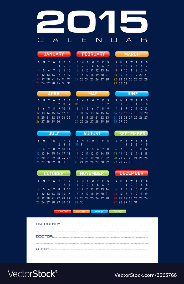 Calendar2015 vector | Price: 1 Credit (USD $1)