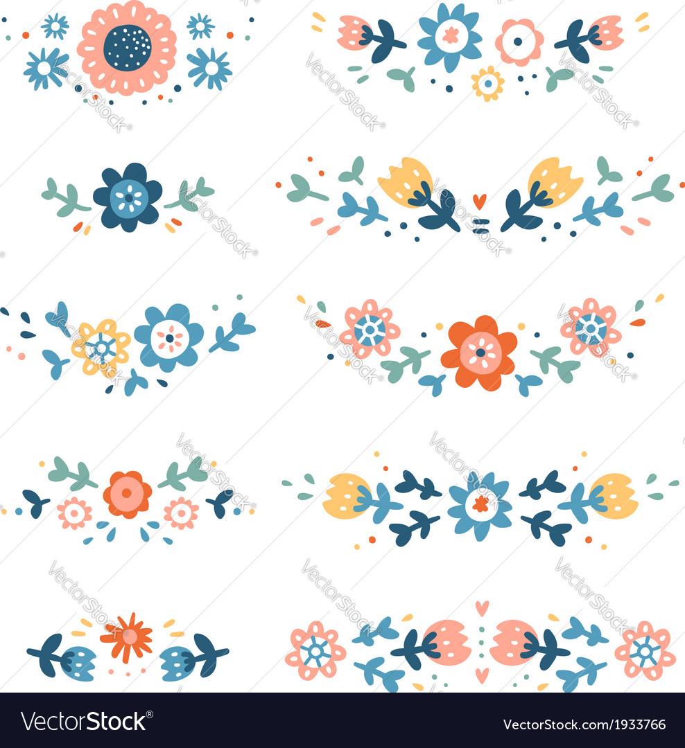 Decorative colorful floral compositions vector | Price: 1 Credit (USD $1)