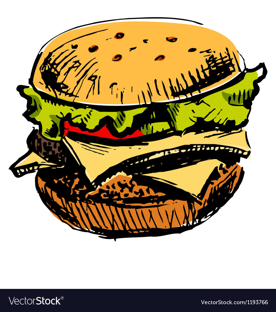 Delicious juicy burger vector | Price: 1 Credit (USD $1)