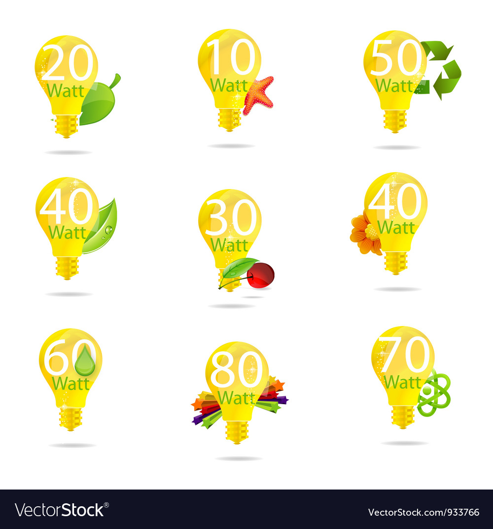 Eco bulb symbols set isolated yellow color vector | Price: 3 Credit (USD $3)