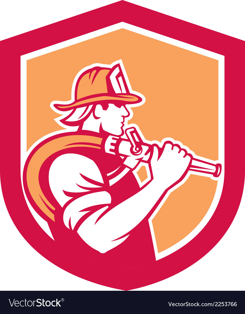 Fireman firefighter holding fire hose shoulder vector | Price: 1 Credit (USD $1)