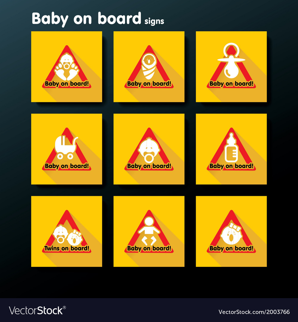 Flat baby on board sign set vector | Price: 1 Credit (USD $1)