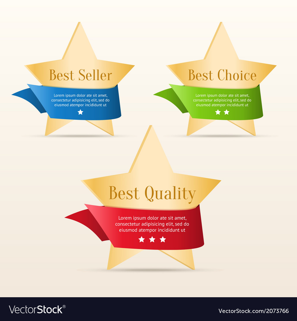 Golden stars with color ribbons vector | Price: 1 Credit (USD $1)