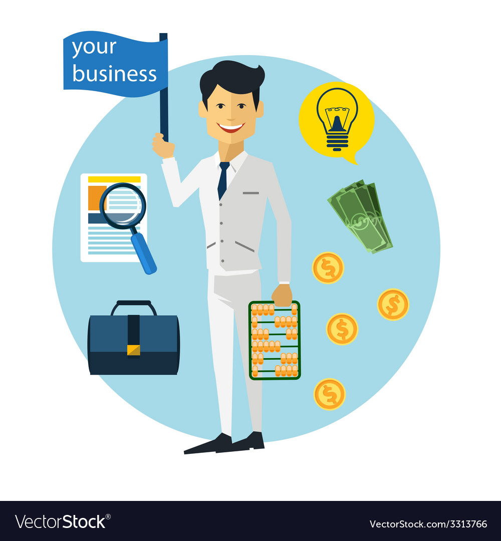 Happy businessman with money and briefcase vector   Price: 1 Credit (USD $1)