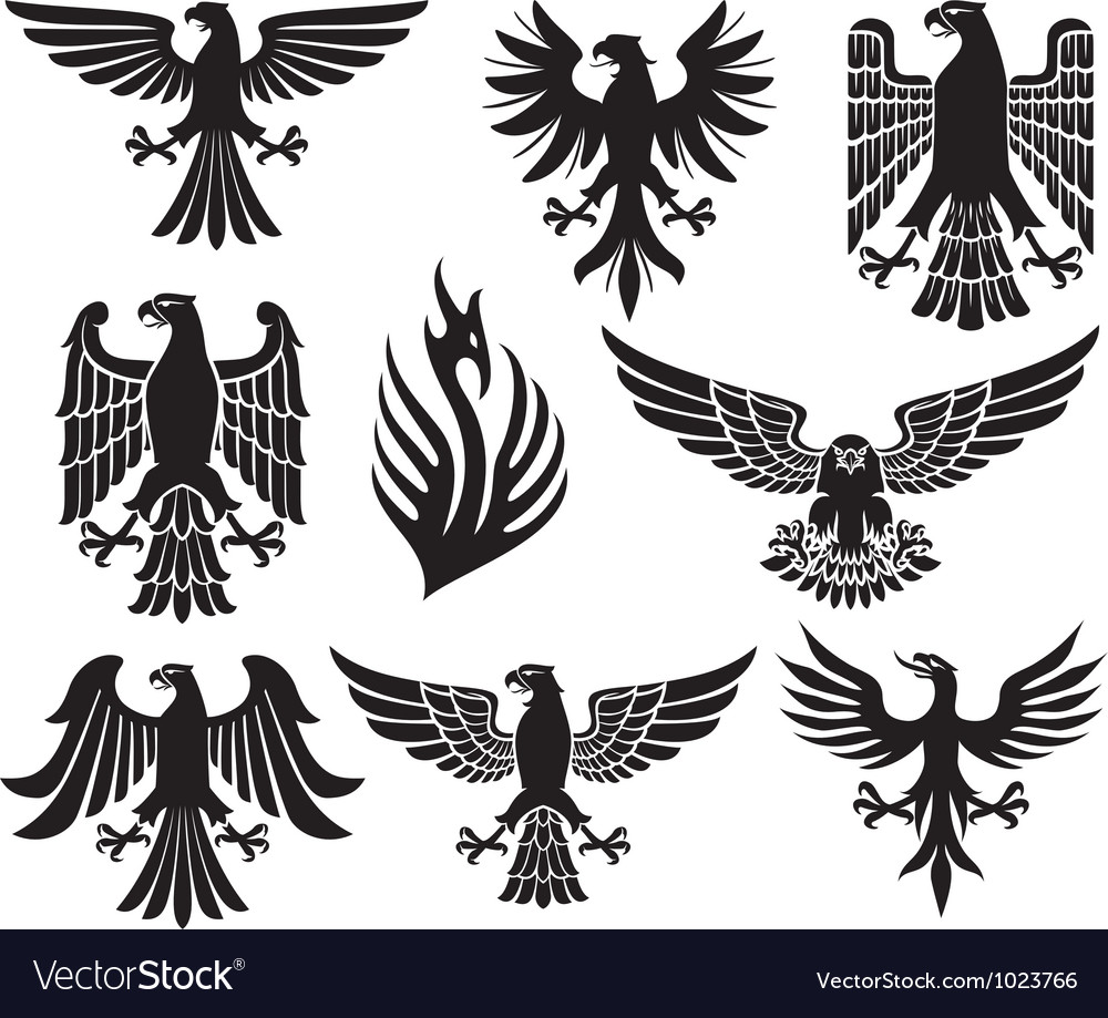 Heraldic eagle set vector | Price: 1 Credit (USD $1)