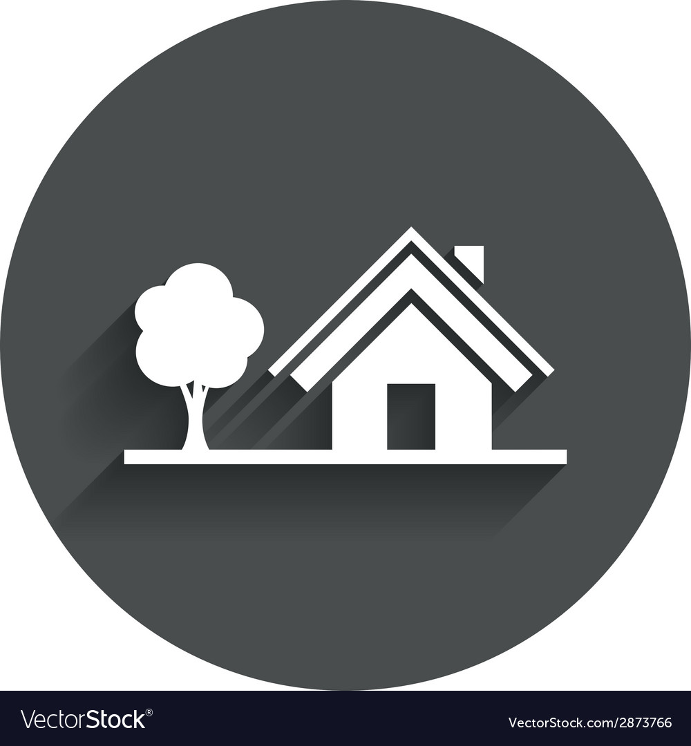Home sign icon house with tree symbol vector   Price: 1 Credit (USD $1)