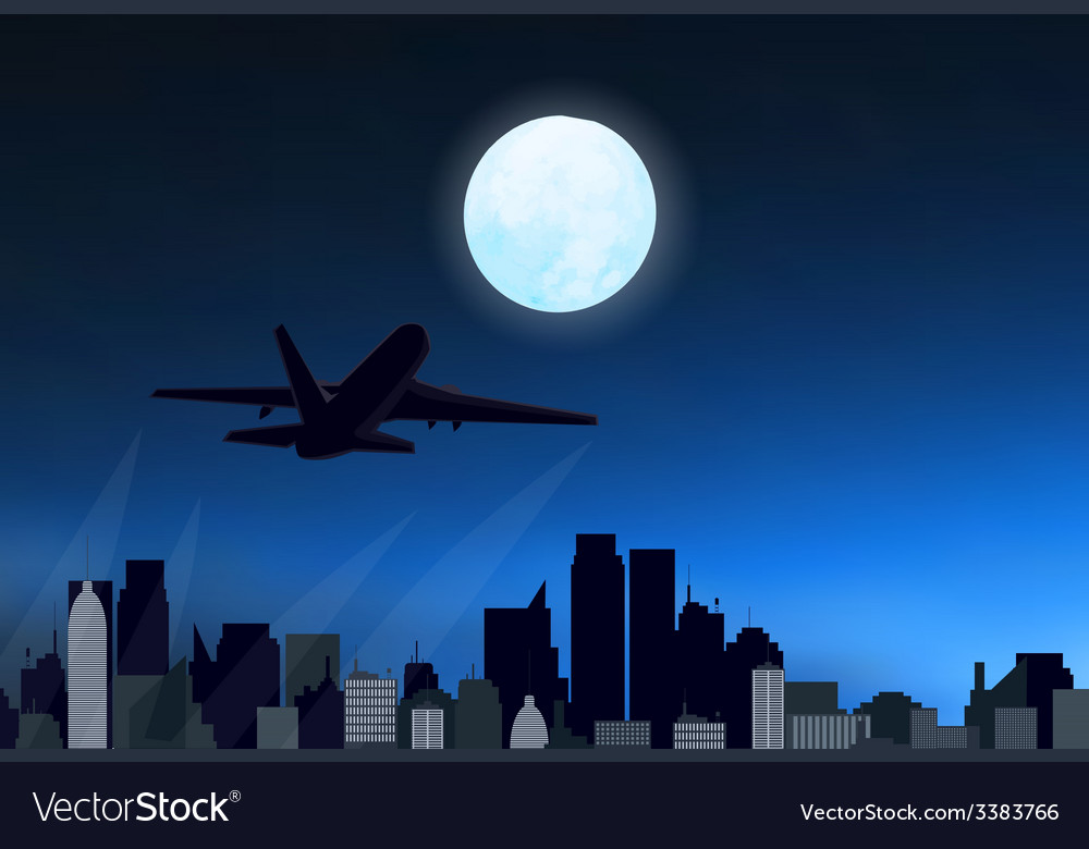 Night city with airplane vector | Price: 1 Credit (USD $1)