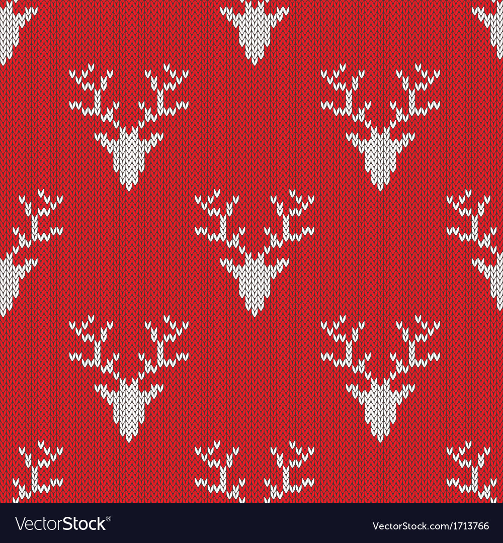 Red knitted sweater with deer seamless pattern vector | Price: 1 Credit (USD $1)