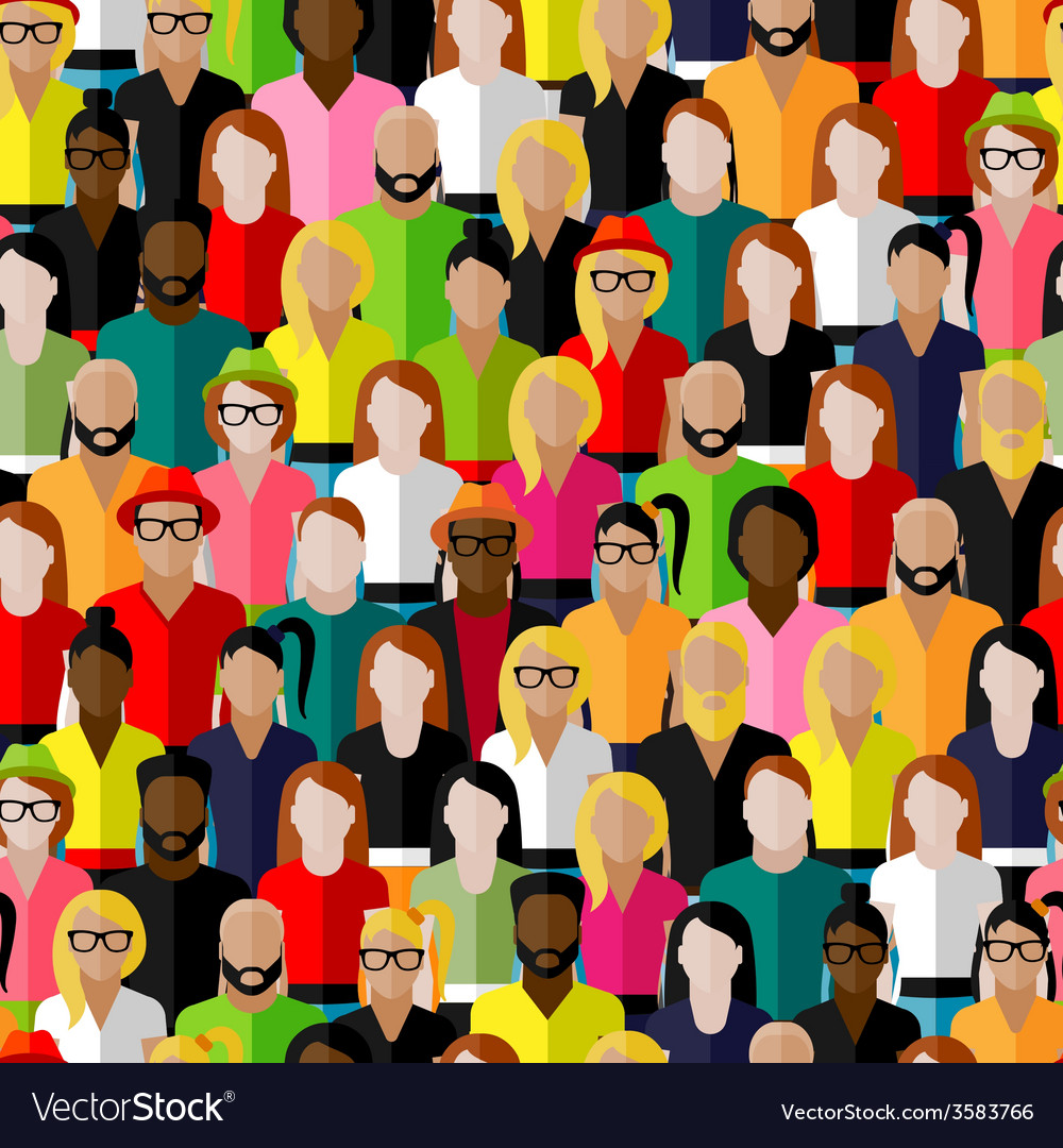 Seamless pattern with a large group of men and vector | Price: 1 Credit (USD $1)