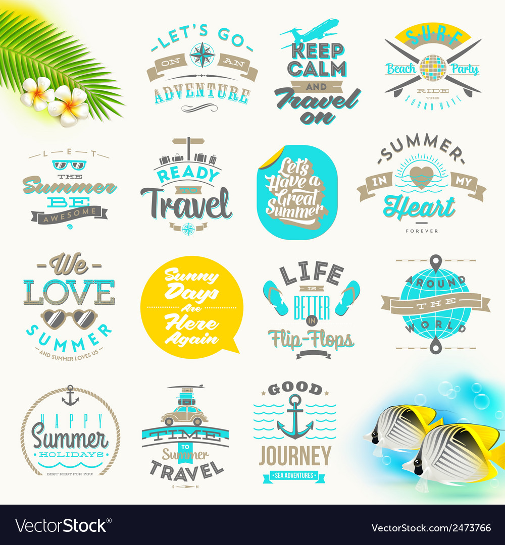 Set of summer vacation and travel type design vector | Price: 1 Credit (USD $1)