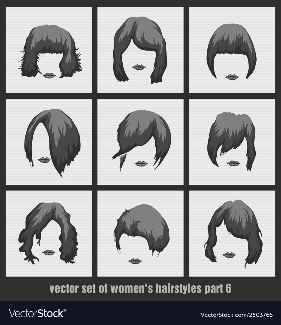 Set of womens hairstyles vector | Price: 1 Credit (USD $1)