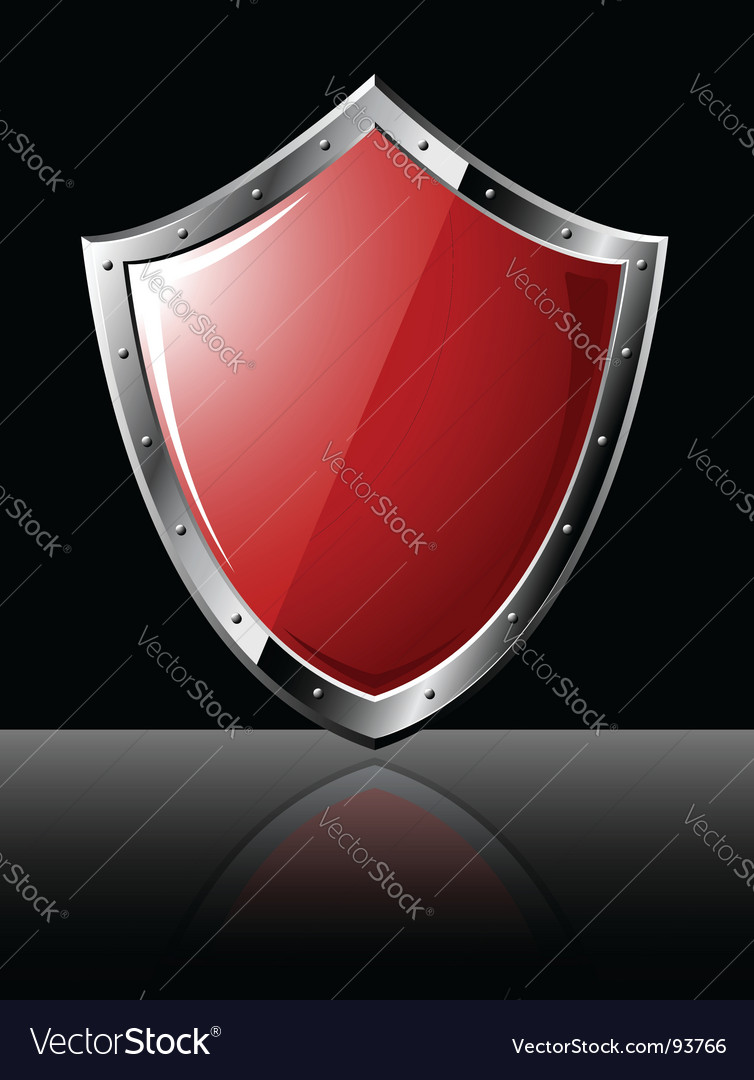 Steel shield isolated on black vector | Price: 1 Credit (USD $1)
