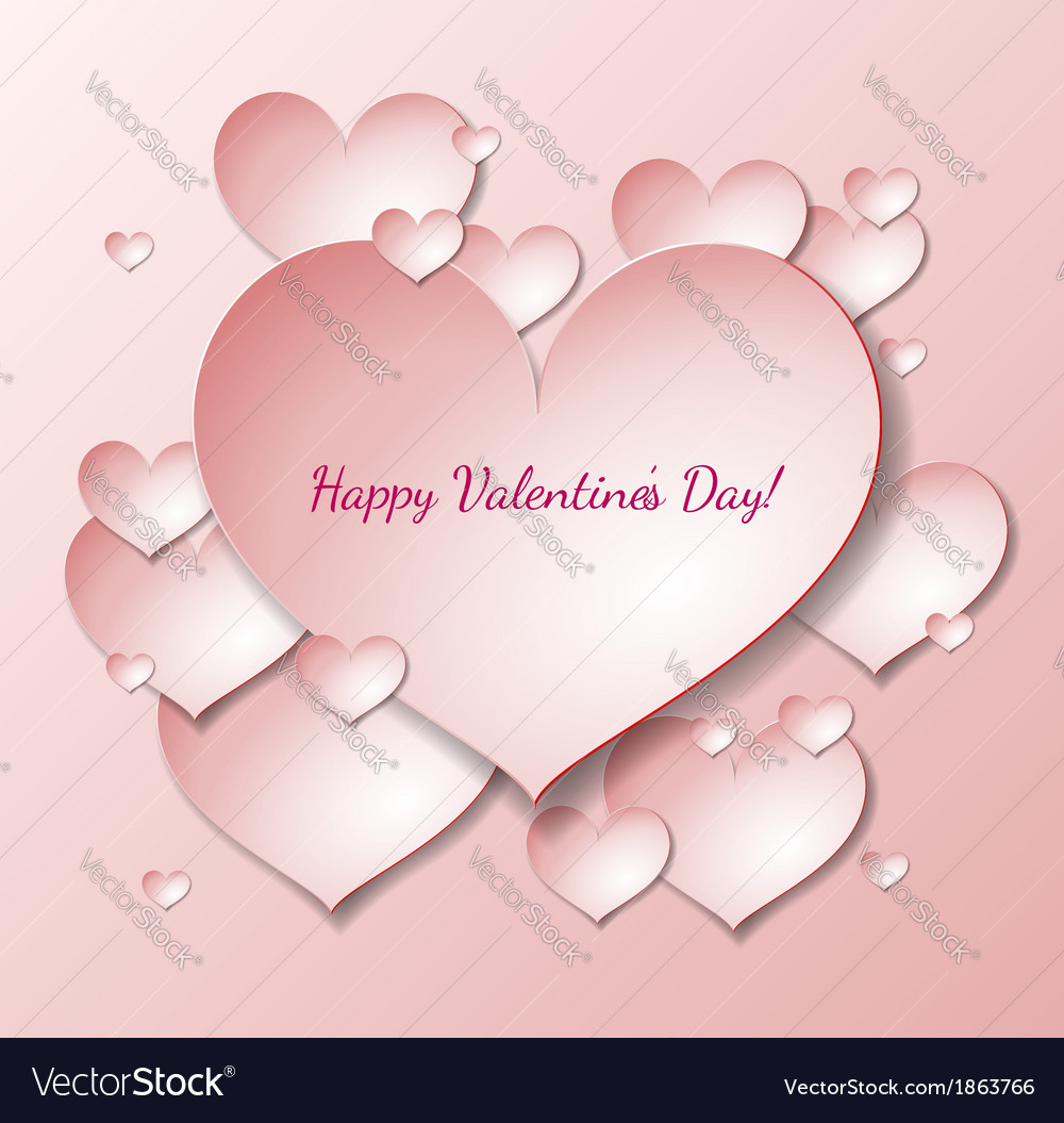 Valentines day card with paper heart notes vector | Price: 1 Credit (USD $1)