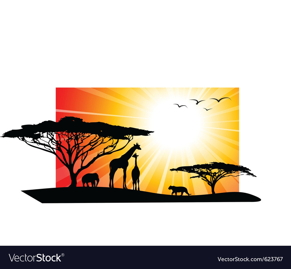 Africa safari silhouettes vector | Price: 1 Credit (USD $1)