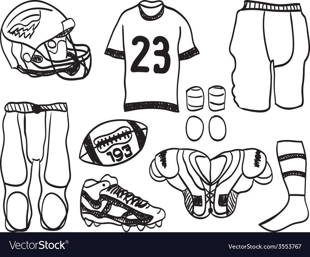 American footbal equipment - hand-drawn vector | Price: 1 Credit (USD $1)