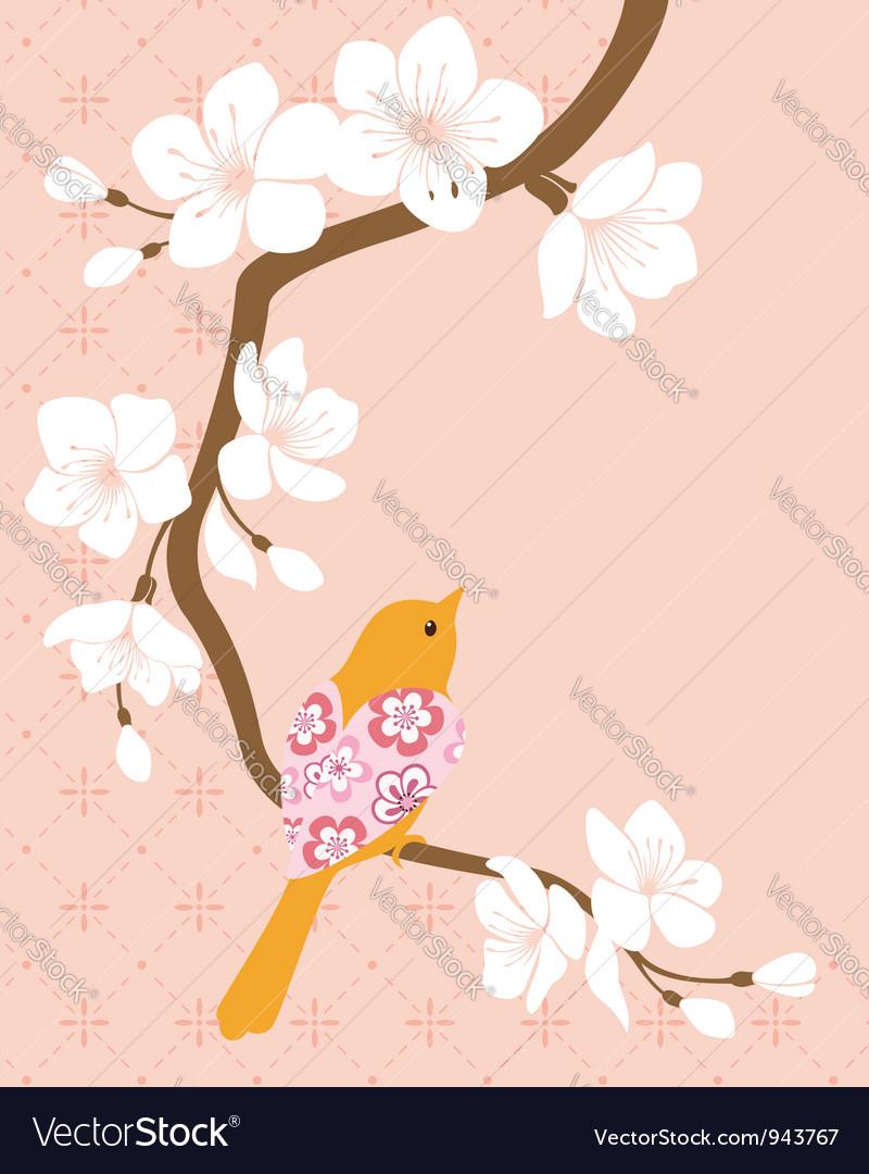 Blossom cherry branch 1 vector | Price: 1 Credit (USD $1)