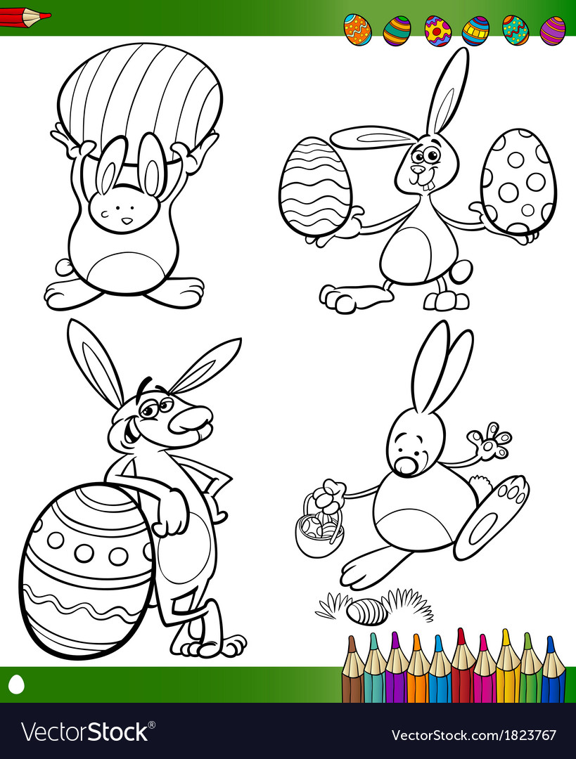 Easter bunnies cartoons for coloring book vector | Price: 1 Credit (USD $1)