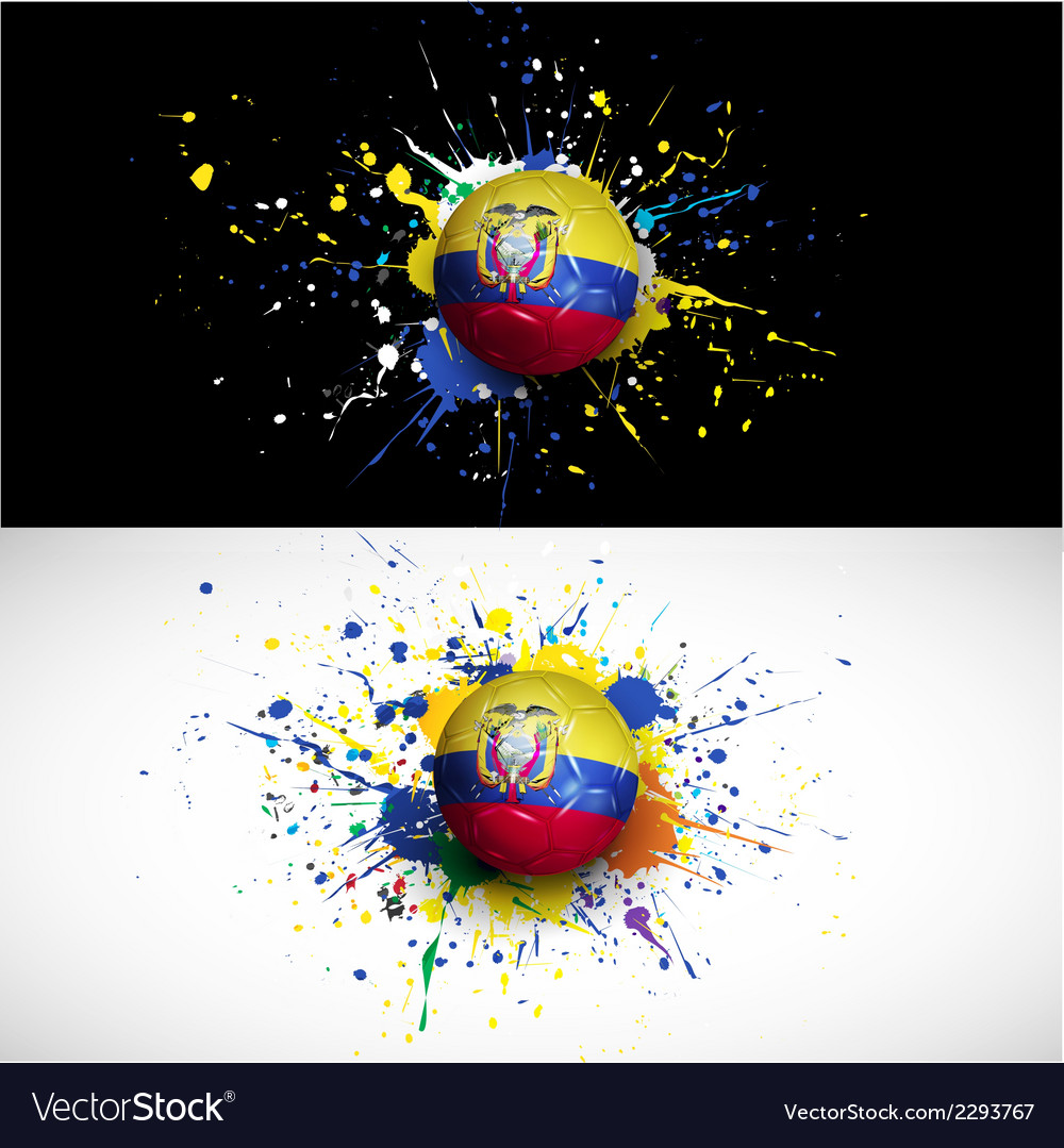 Ecuador flag with soccer ball dash on colorful vector