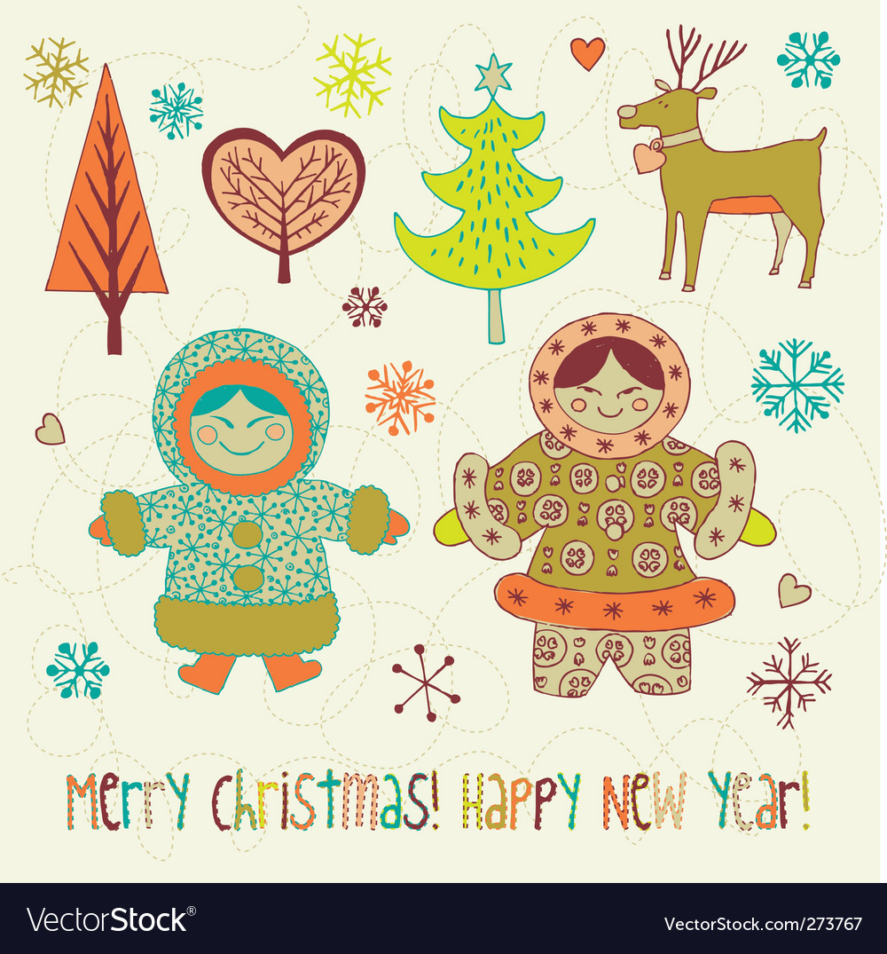 Eskimo girls christmas card vector | Price: 3 Credit (USD $3)