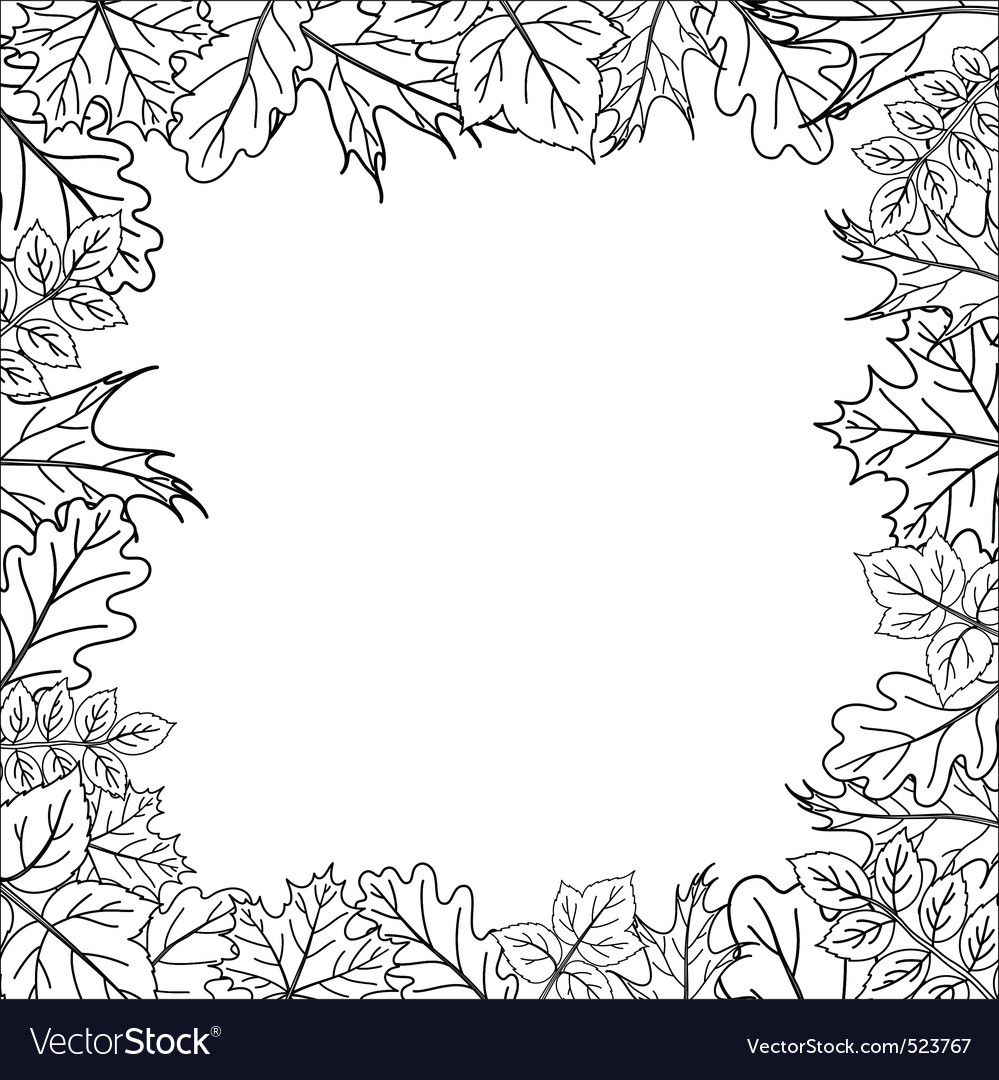 Framework from leaves outline vector | Price: 1 Credit (USD $1)