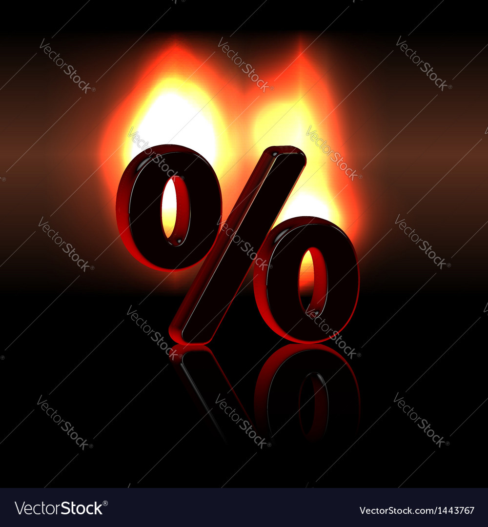 Persent sign over fire vector | Price: 1 Credit (USD $1)