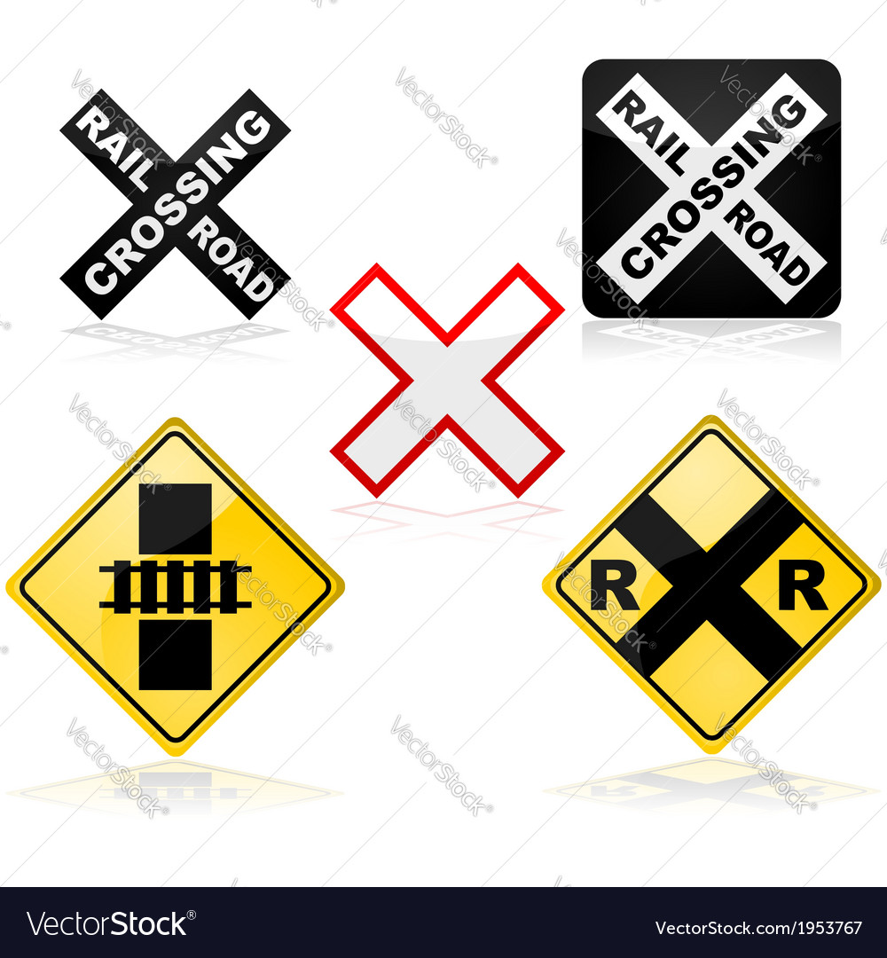 Railroad crossing vector | Price: 1 Credit (USD $1)