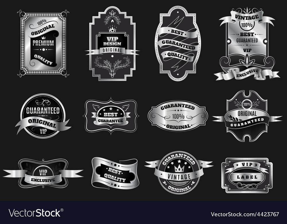 Retro original silver emblems labels collection vector