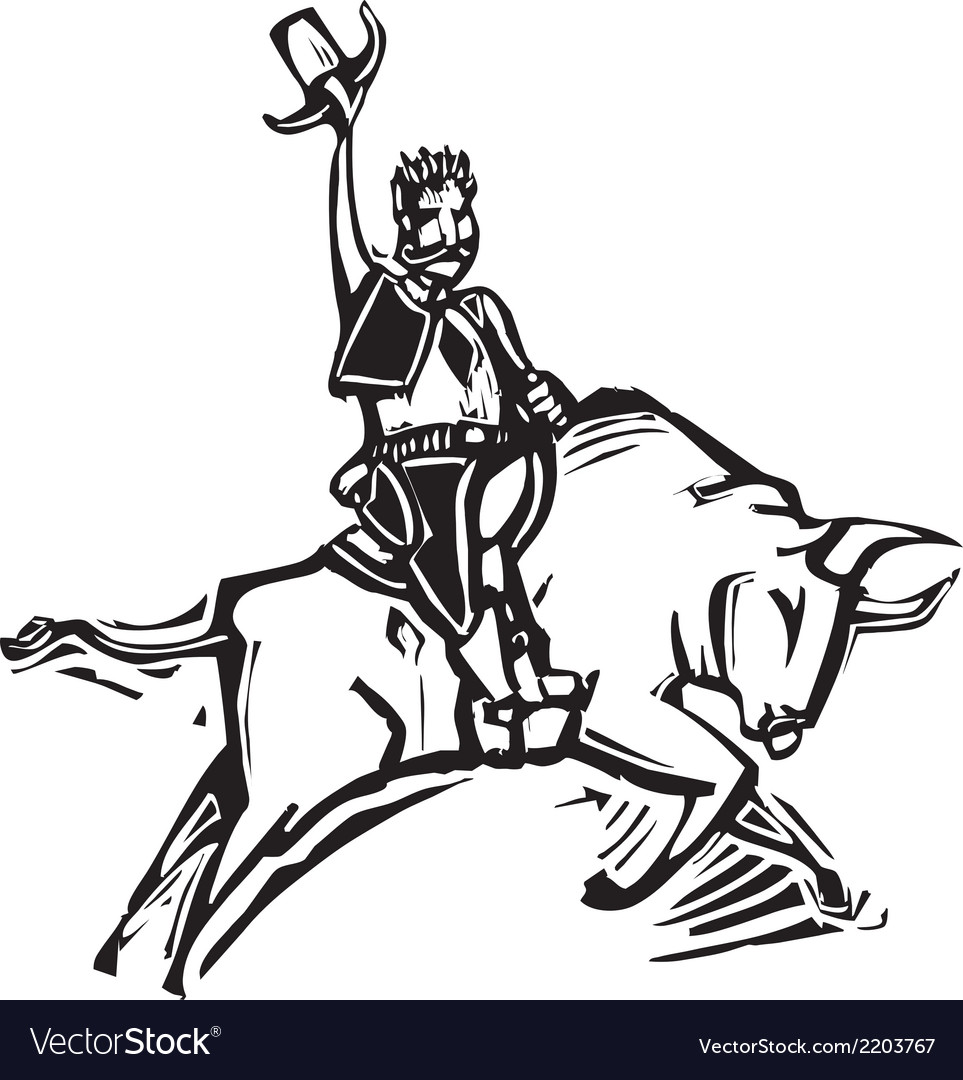 Riding a bull vector | Price: 1 Credit (USD $1)