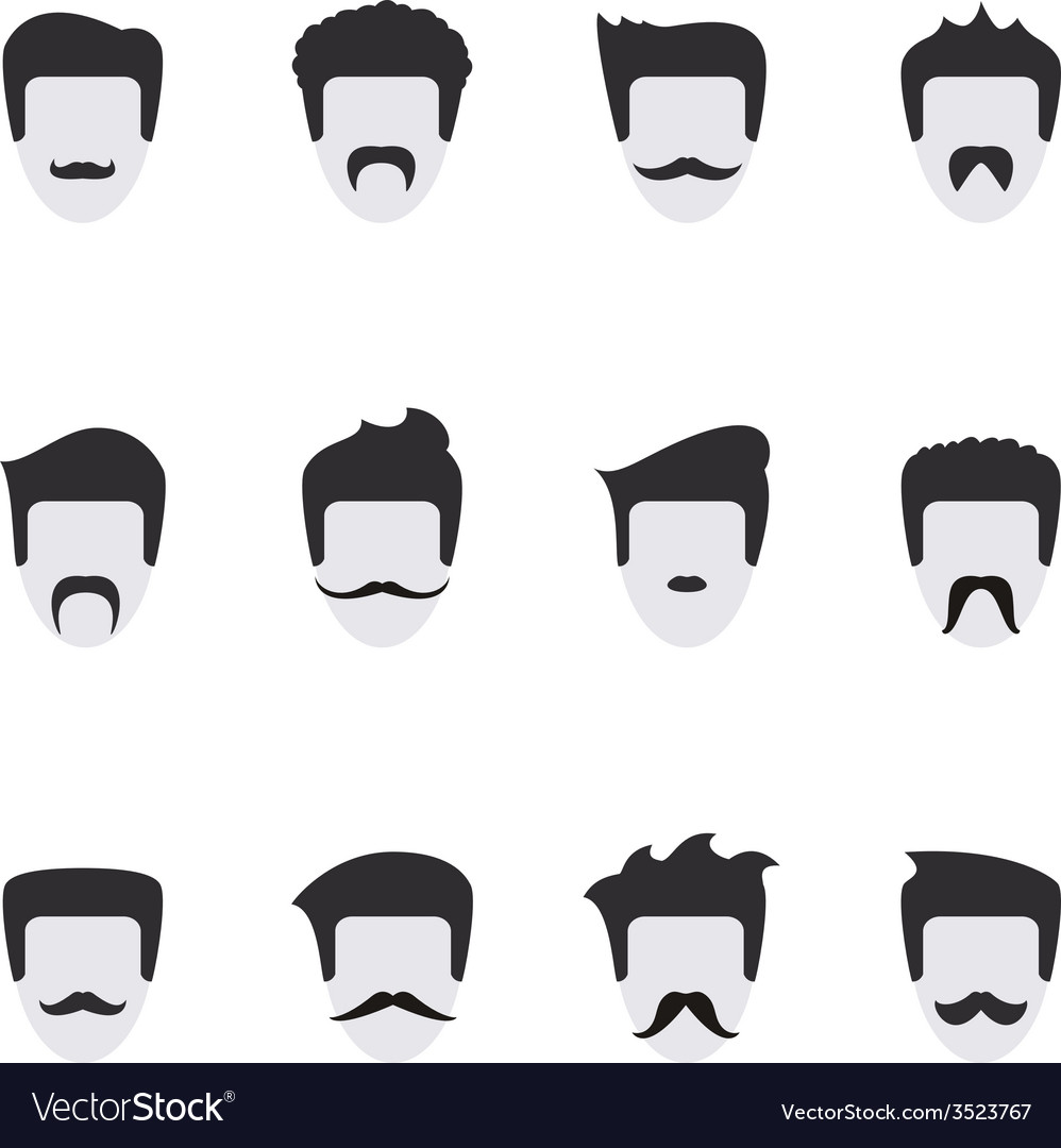 Set icons face with mustaches vector | Price: 1 Credit (USD $1)