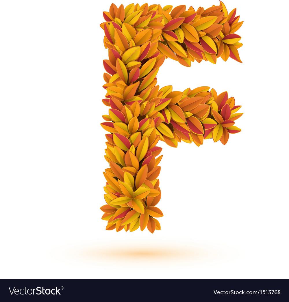 Autumn fall bright orange leaves letter vector   Price: 1 Credit (USD $1)