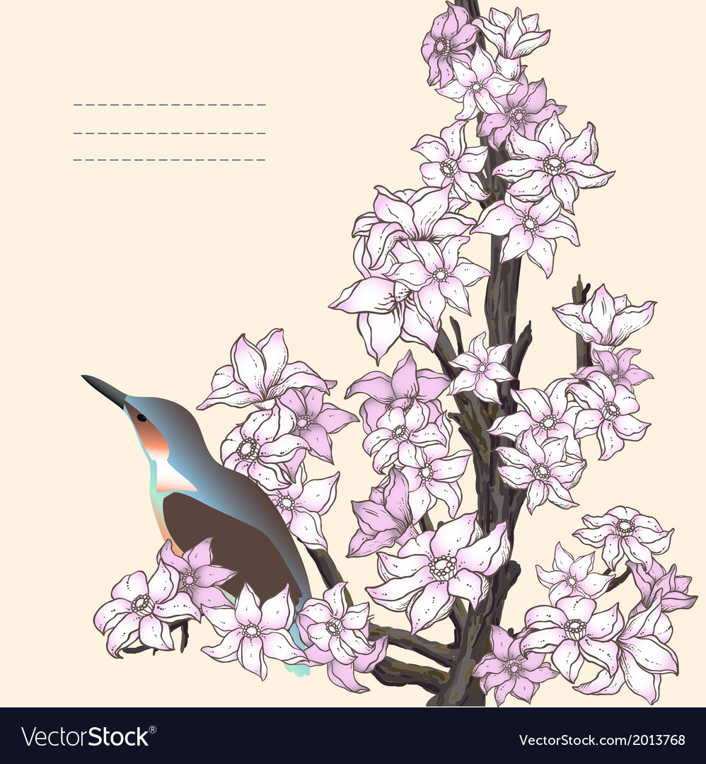 Branch of hand drawn cherry blossom with the bird vector | Price: 1 Credit (USD $1)