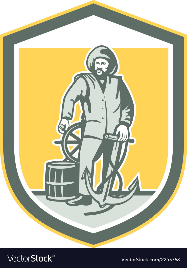Fisherman holding anchor wheel shield retro vector | Price: 1 Credit (USD $1)