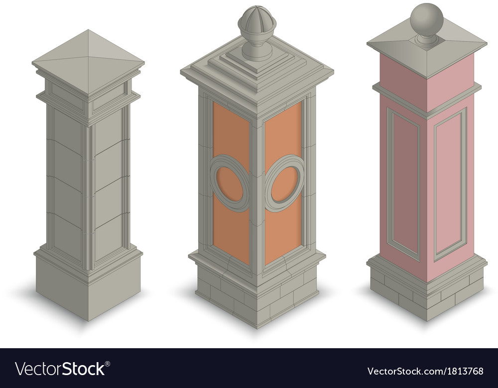 Gate pillars isometric vector | Price: 1 Credit (USD $1)