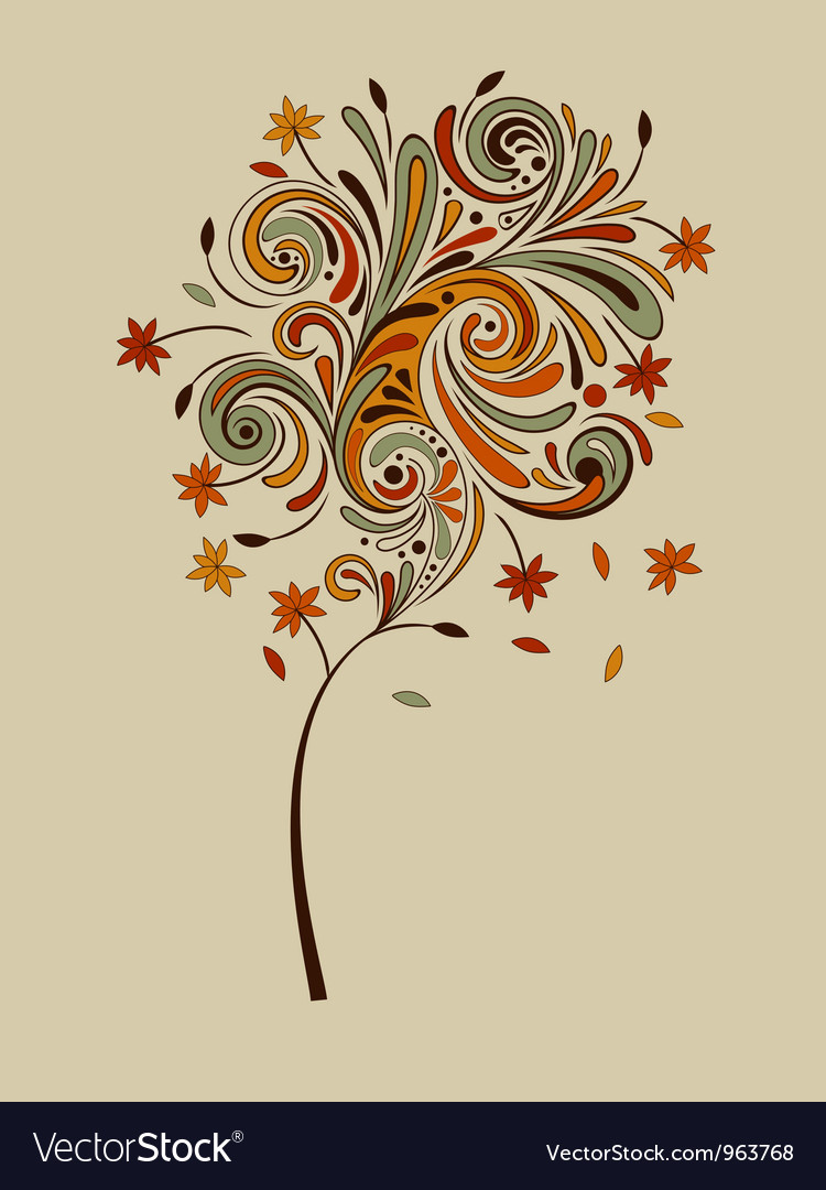 Highly detailed autumn tree vector | Price: 1 Credit (USD $1)