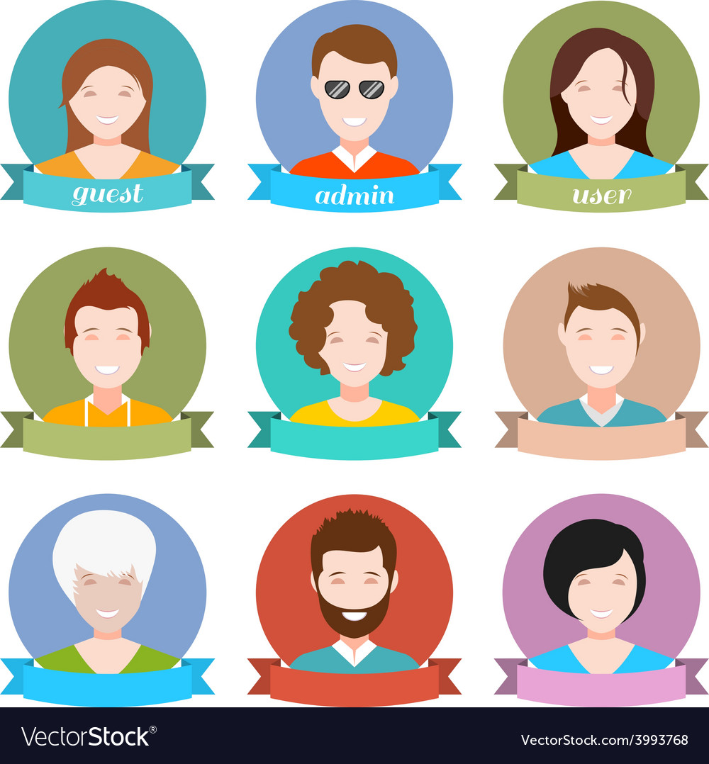 Set of modern people avatar in style flat design vector