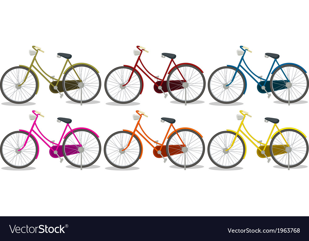 Six colorful bikes vector | Price: 1 Credit (USD $1)