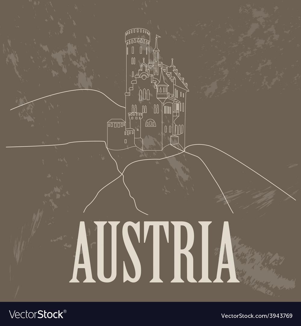 Austria landmarks retro styled image vector | Price: 1 Credit (USD $1)