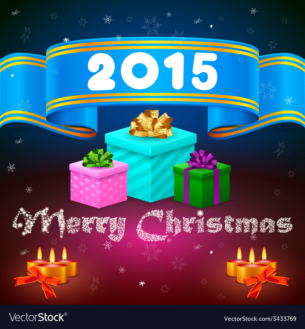 Blue ribbon 2015 and christmas gifts vector | Price: 1 Credit (USD $1)
