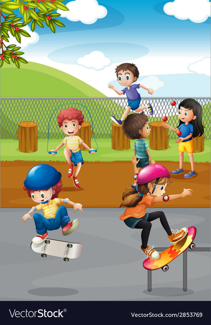 Children and playground vector | Price: 3 Credit (USD $3)