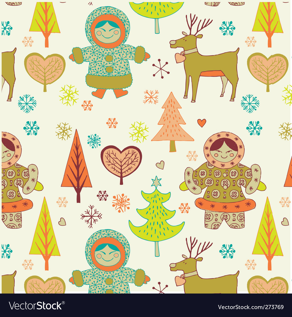 Eskimo girls seamless pattern vector | Price: 3 Credit (USD $3)