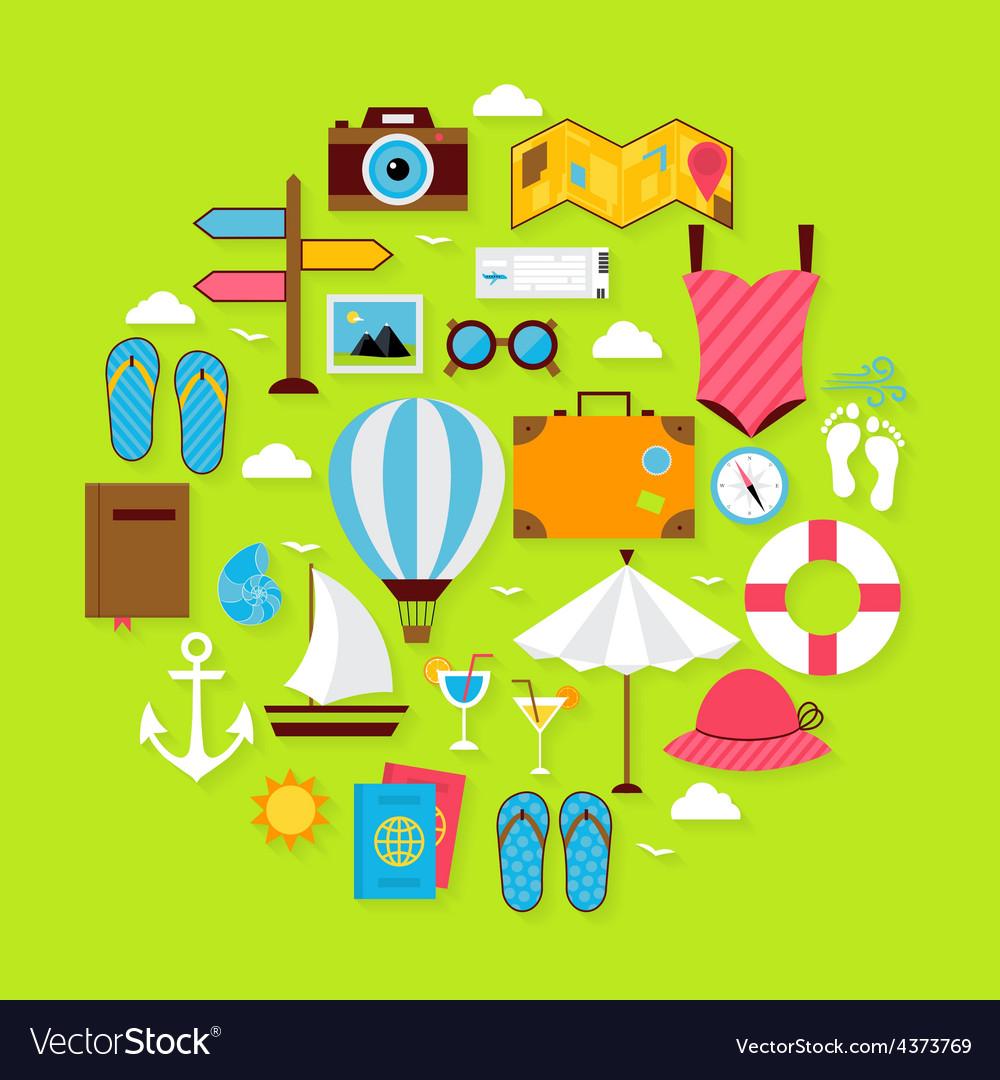 Flat summer holiday icons circle shaped set vector | Price: 1 Credit (USD $1)
