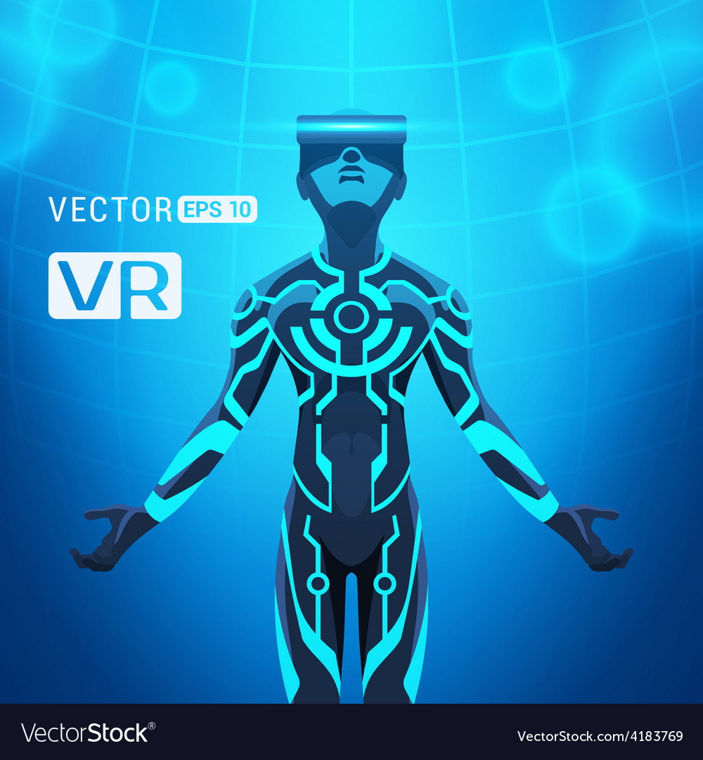 Man in a virtual reality helmet vector | Price: 3 Credit (USD $3)