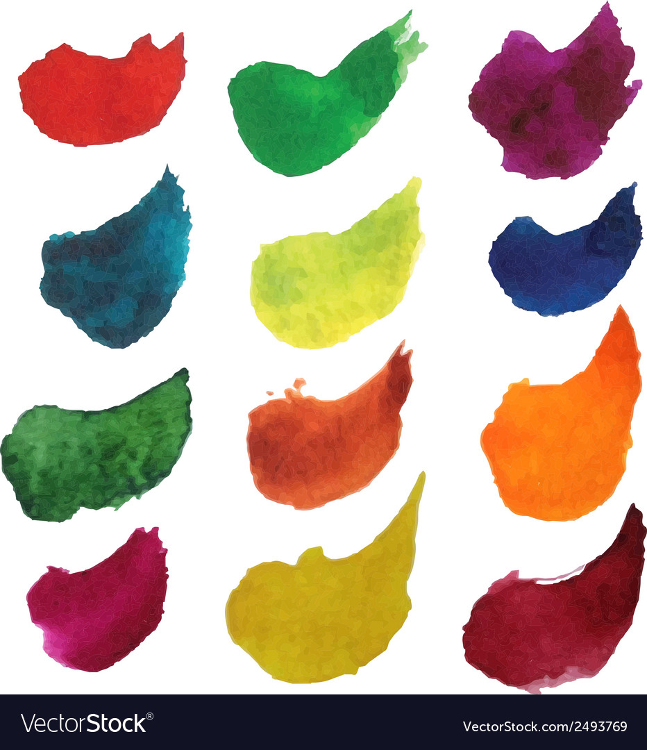 Set of colorful watercolor brush strokes vector | Price: 1 Credit (USD $1)