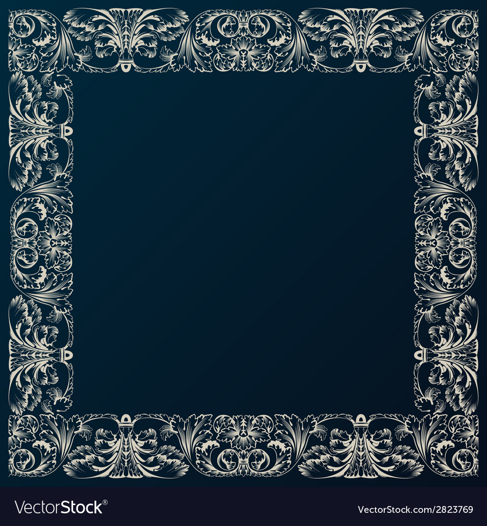 Vintage border frame decor baroque design with vector | Price: 1 Credit (USD $1)