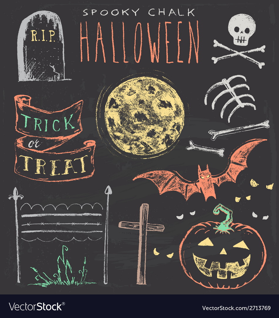 Vintage chalkboard halloween hand drawn set vector | Price: 1 Credit (USD $1)