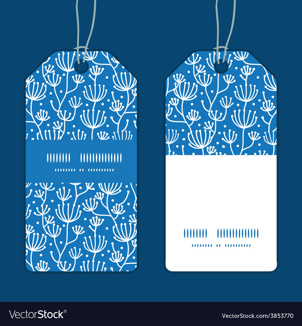 Blue white lineart plants vertical stripe vector | Price: 1 Credit (USD $1)